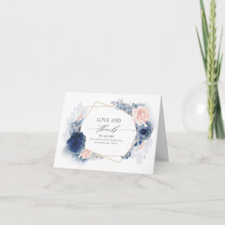 Blue and Blush Flowers Wedding Thank You