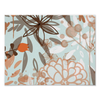 Blue and Brown Abstract Flowers Pattern Poster