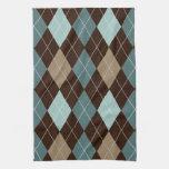 Blue and Brown Argyle Fashion Pattern Kitchen Towel