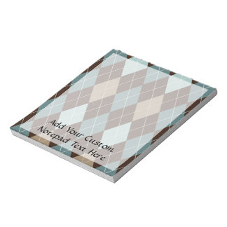 Blue and Brown Argyle Fashion Pattern Notepad