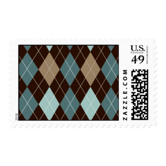 Blue and Brown Argyle Fashion Pattern Postage