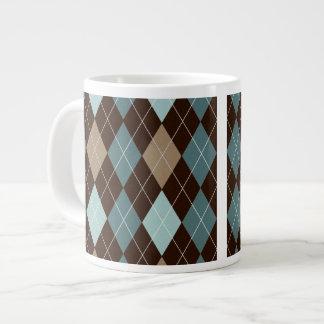 Blue and Brown Argyle Fashion Pattern Extra Large Mug
