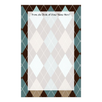 Blue and Brown Argyle Fashion Pattern Stationery