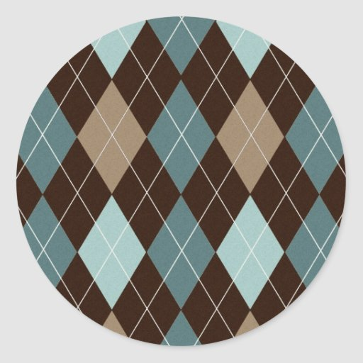 Blue and Brown Argyle Fashion Pattern Stickers