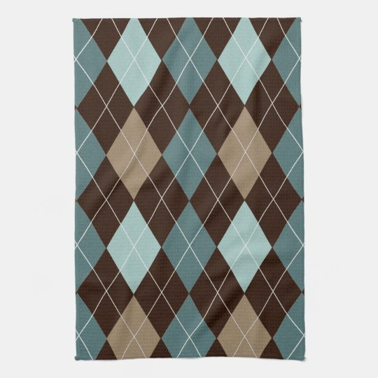 Blue and Brown Argyle Fashion Pattern Towels
