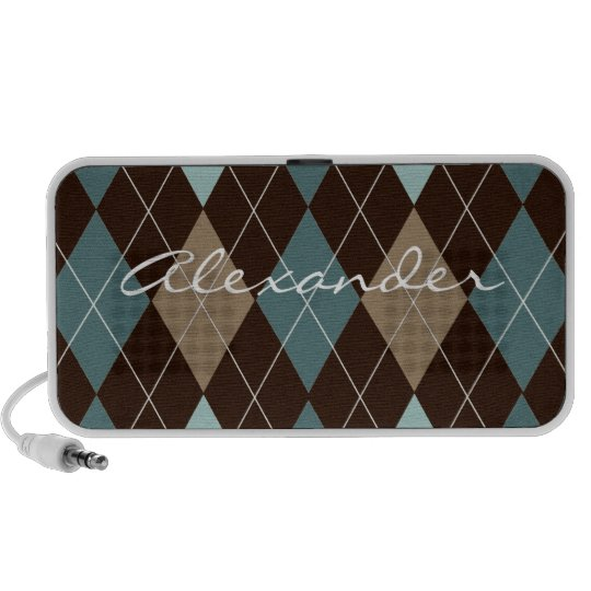 Blue and Brown Argyle Pattern Personalized Speaker