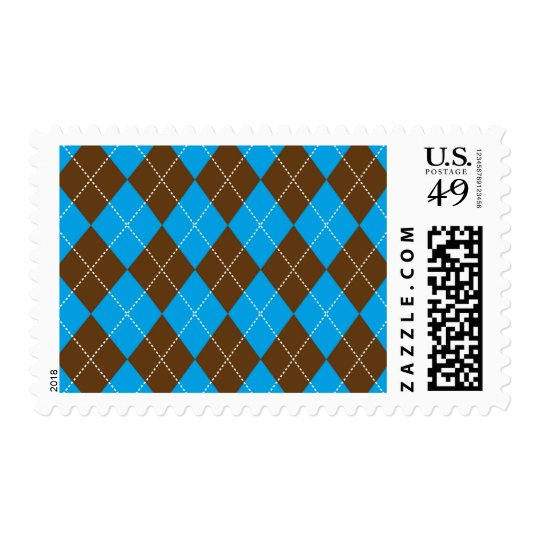Blue and Brown Argyle Pattern Stamp