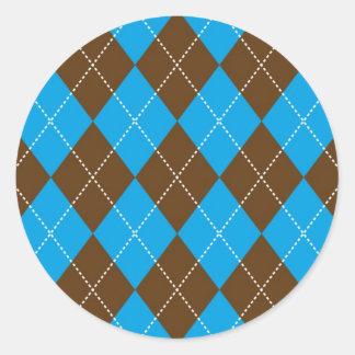 Blue and Brown Argyle Pattern Classic Round Sticker