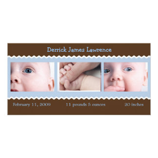 Blue and Brown baby announcement Photo Card
