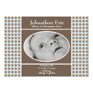 """Blue and Brown Baby Boy Birth Announcement 5"""" X 7"""" Invitation Card"""