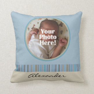 Blue and Brown Baby Boy Custom Photo Name Pillow