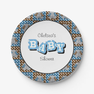 Blue and Brown Baby Elephants | Personalize Paper Plate