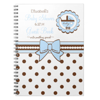 Blue and Brown-Baby Shower Guest Book- Notebook