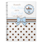 Blue and Brown-Baby Shower Guest Book- Spiral Note Books