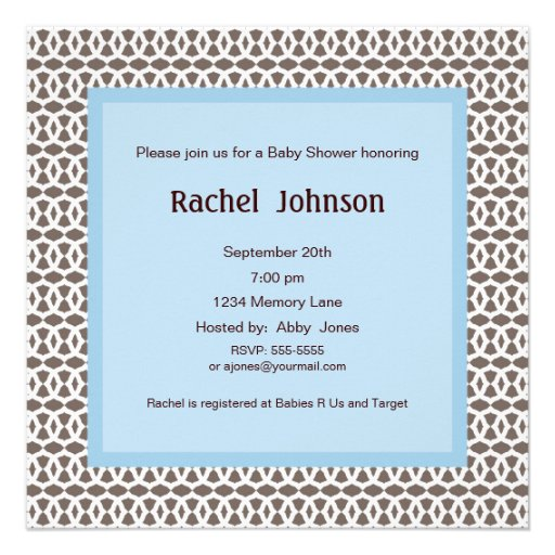Blue And Brown Baby Shower Invitation