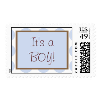 Blue and Brown Baby Shower Postage