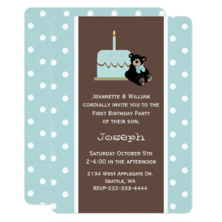 Blue and Brown Baby's First Birthday Invitation