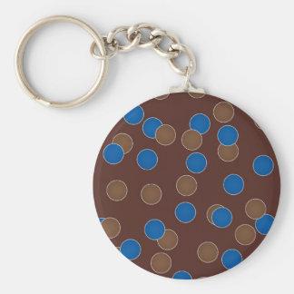 Blue and Brown Balls Basic Round Button Keychain