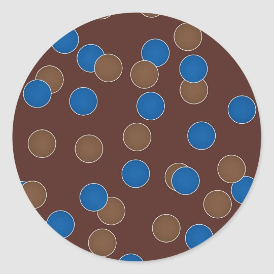 Blue and Brown Balls Classic Round Sticker