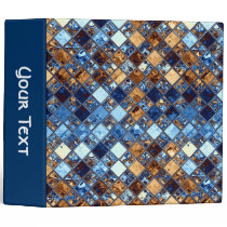 Blue and Brown Bandana Mosaic Tile Art 3 Ring Binder