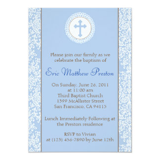 "Blue and Brown Baptism/Christening Invitation 5"" X 7"" Invitation Card"