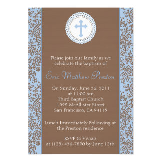 Blue and Brown Baptism Christening Invitation