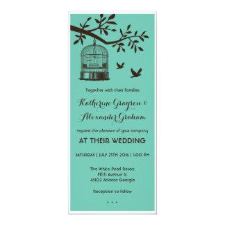 "Blue and Brown Bird Cage Wedding Invitation 4"" X 9.25"" Invitation Card"