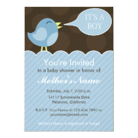Blue and Brown, Boy Baby Shower Invitation