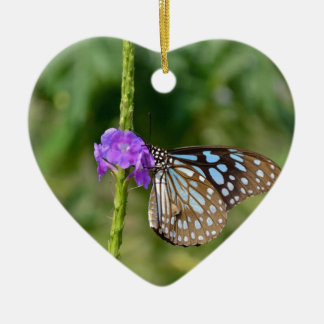 Blue and Brown Butterfly on Flower Ceramic Ornament