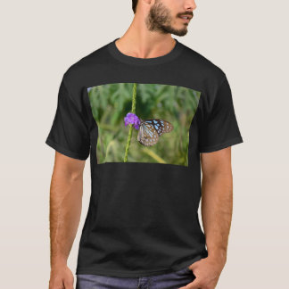 Blue and Brown Butterfly on Flower T-Shirt