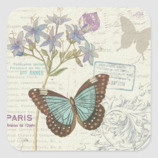 Blue and Brown Butterfly Square Sticker