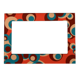 Blue and brown circles on a red background magnetic picture frame