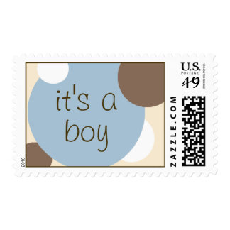 Blue and Brown Circles Postage (Cutomizable)