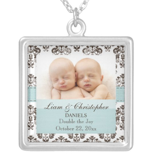 Blue and Brown Damask Baby Photo Necklace Twins