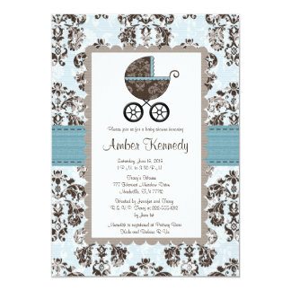 """Blue and Brown Damask Baby Shower Invitations 5"""" X 7"""" Invitation Card"""