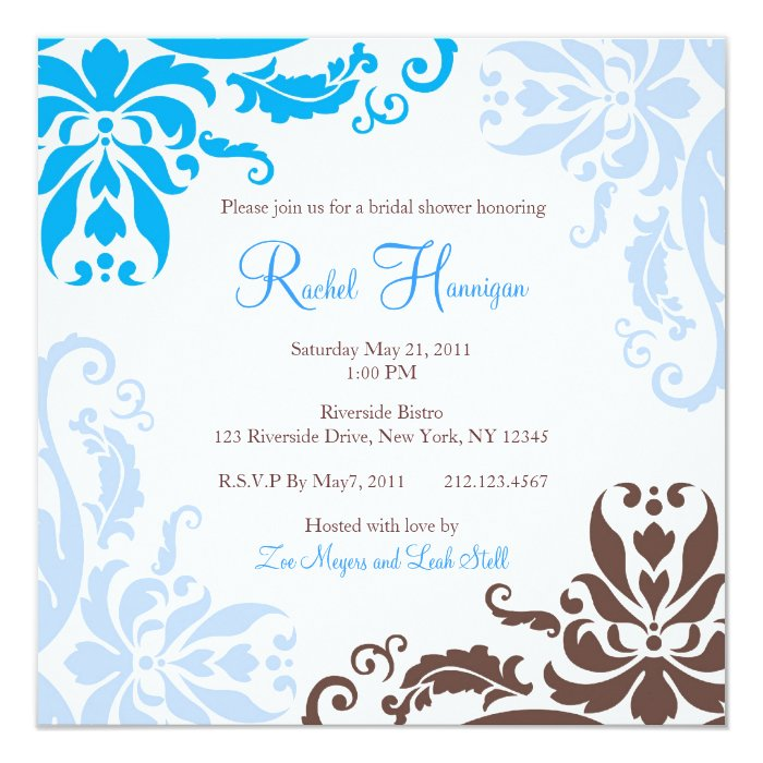 Blue and Brown Damask Bridal Shower Invite