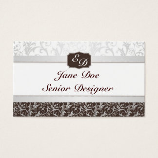 Blue And Brown Damask Business Card