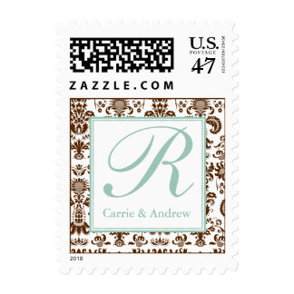 Blue and Brown Damask Monogram Postage