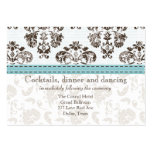 Blue and Brown Damask Wedding Reception Ca Business Card Templates