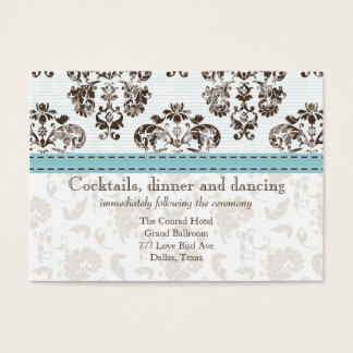 Blue and Brown Damask Wedding Reception Ca Business Card