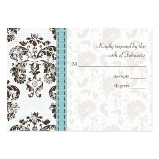 Blue and Brown Damask Wedding RSVP Cards Business Card Templates