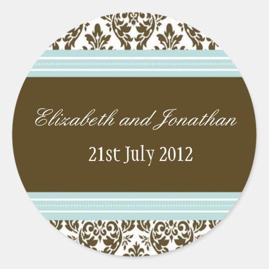 Blue and Brown Damask Wedding Sticker