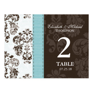 Blue and Brown Damask Wedding Table Number Postcard