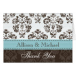Blue and Brown Damask Wedding Thank You No Greeting Card