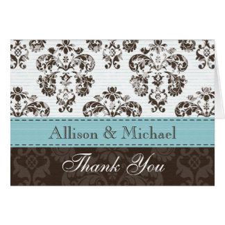 Blue and Brown Damask Wedding Thank You No Card