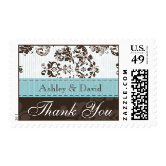 Blue and Brown Damask Wedding Thank You Po Postage