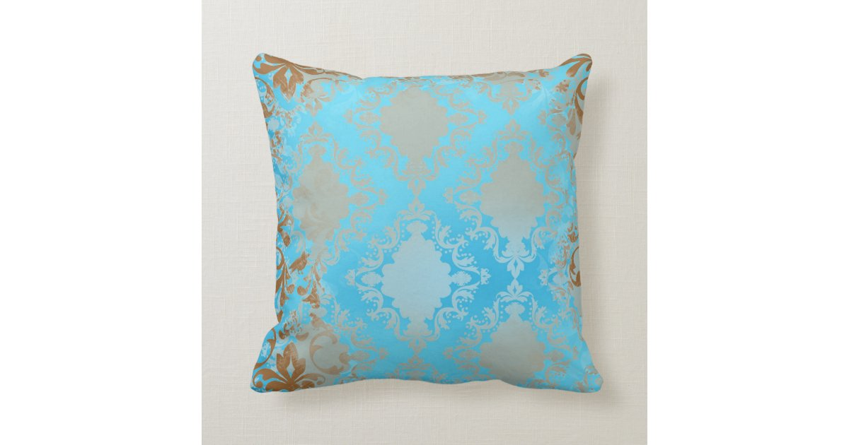 Blue And Brown Outdoor Throw Pillows : Blue and Brown Distressed Throw Pillow Zazzle