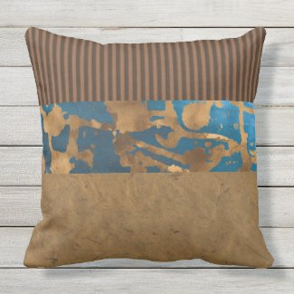 Blue and Brown Distressed with Stripe Pillow 20x20