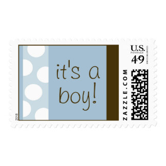 Blue and Brown Dots Postage (Customizable)