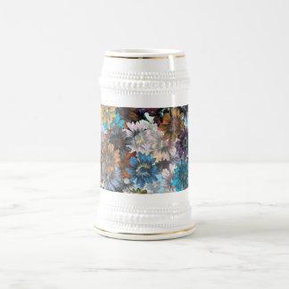 Blue and brown floral 18 oz beer stein